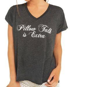 Wildfox Gray Pillow Talk is Extra V-Neck Shirt